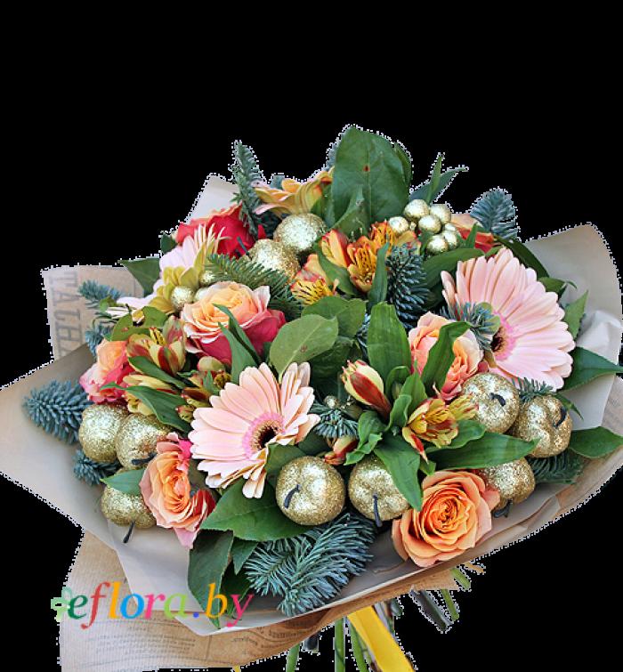 Букет с хвоей красноярск, цветы